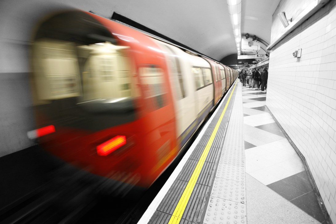 Moving train, motion blurred, London Underground